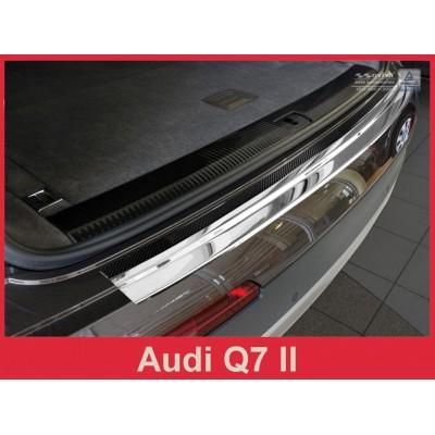 Edelstahl Ladekantenschutz für Audi Q7 II ab 2015 mit Carbon Fiber Rot